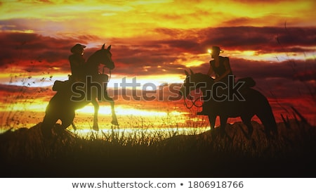 Horse rearing upon the sun - 3D render Stock photo © Elenarts