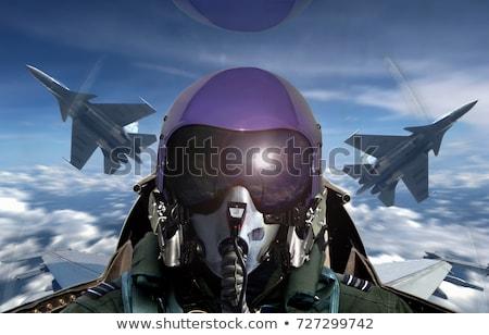 Powietrza myśliwiec kabina pilota ziemi szczegóły Błękitne niebo Zdjęcia stock © kyolshin