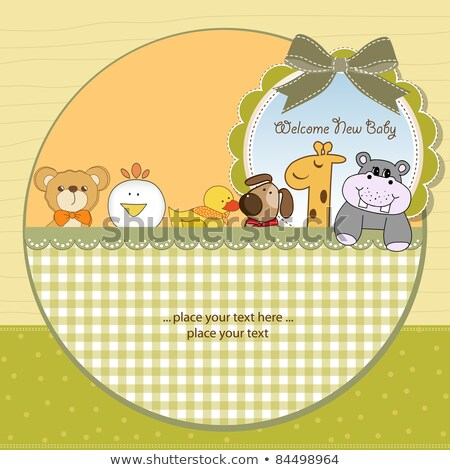 new baby girl announcement card with hippo Stock photo © balasoiu