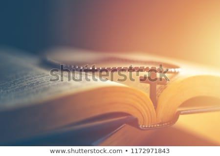Haç İncil deri dua antika Stok fotoğraf © sqback