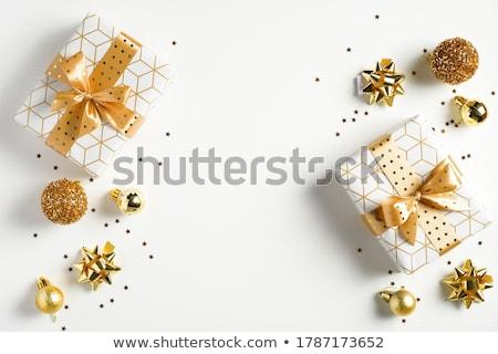een · witte · geschenkdoos · Geel · lint · boeg - stockfoto © natika