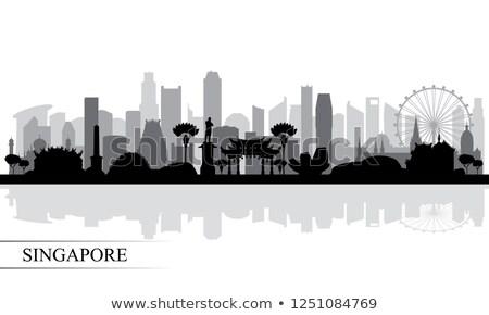 Сток-фото: Singapore City Skyline Black And White Illustration