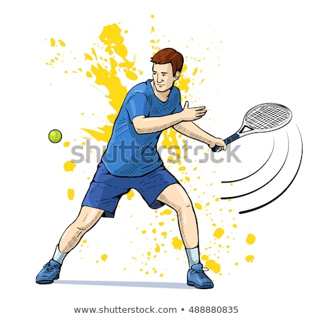 Man Tennis player poster. Colored Vector illustration for design Stock photo © leonido