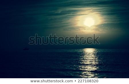 Stock fotó: Vitorlás · éjszaka · köd · víz · tenger · hold