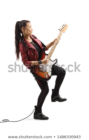mujer · bonita · guitarra · azul · mujer · nina · cara - foto stock © dashapetrenko