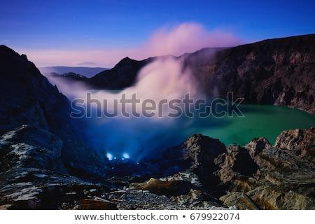 volcanic landscape of kawah ijen in morning dawn indonesia stock photo © dinozzaver