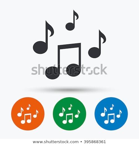 музыки отмечает зеленый вектора икона кнопки интернет Сток-фото © rizwanali3d