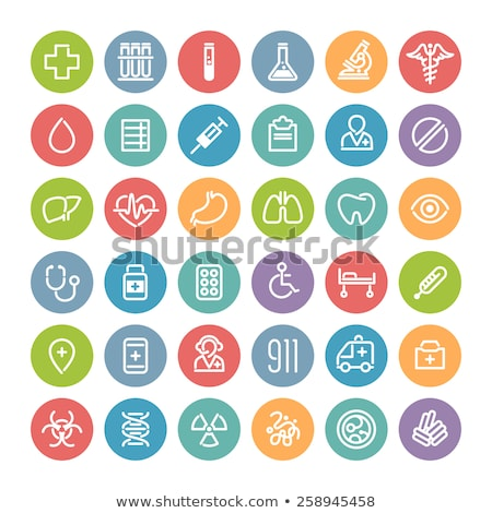 Set of Flat Round Icons with Bacteria and Germs Stock photo © Voysla