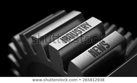 Stockfoto: Productie · nieuws · metaal · versnellingen · zwarte · business