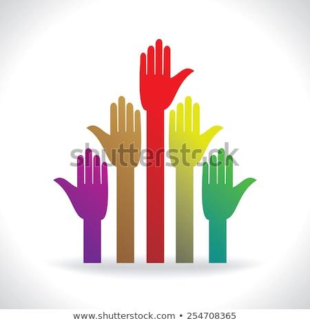 Muchos stand manos colorido derechos humanos reunión Foto stock © vgarts