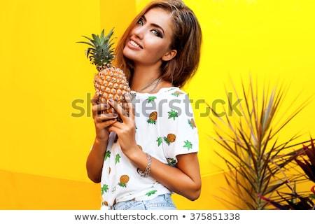 retrato · mulher · laranja · branco - foto stock © dash