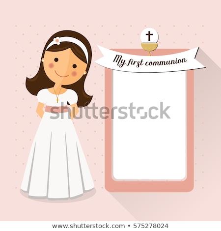 Pierwsza komunia przypomnienie karty dziewczyna brązowy kościoła Zdjęcia stock © marimorena