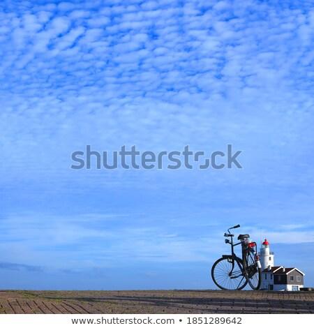 Bicikli móló tenger kék ég Mallorca Spanyolország Stock fotó © artjazz
