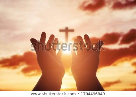 Oração mãos ação de graças imagem ilustração cartão Foto stock © Irisangel
