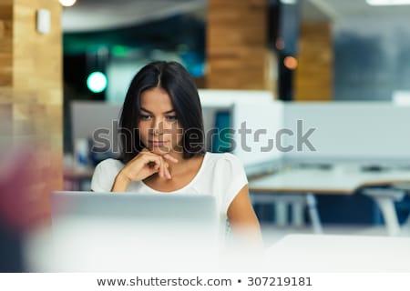 счастливым · молодые · деловая · женщина · используя · ноутбук · служба · глядя - Сток-фото © deandrobot