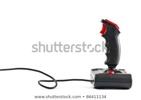 Ordenador palanca de mando cables mano aislado blanco Foto stock © sqback