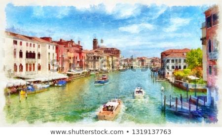 ヴェネツィア · イタリア · 運河 · 午前 · ヴィンテージ · 写真 - ストックフォト © Nickolya