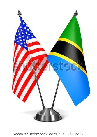США Танзания миниатюрный флагами изолированный белый Сток-фото © tashatuvango