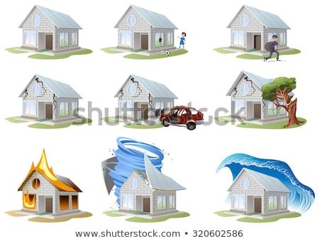 carro · acidente · automático · parede · casa · propriedade - foto stock © orensila