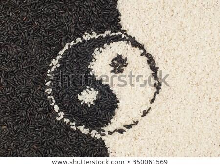 Yin yang rizs szimbólum feketefehér étel fehér Stock fotó © cosma