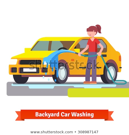 Stock photo: Girl Car Wash Flat Concept Icon