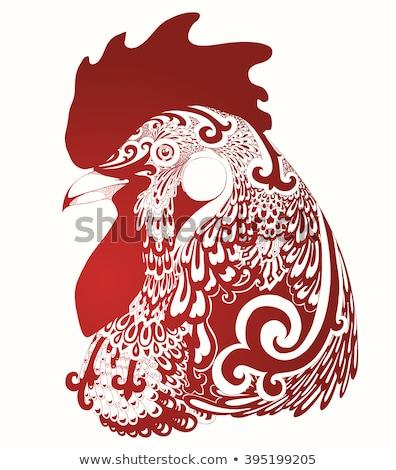 петух · птица · Китайский · Новый · год · вектора · рисованной · эскиз - Сток-фото © hermione