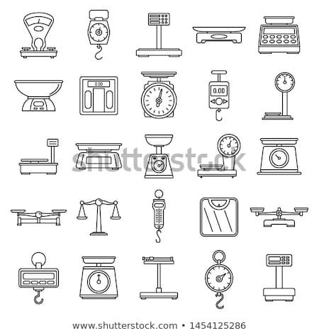 weighing scale line icon stock photo © rastudio