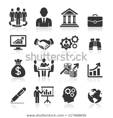 Wereldwijde business icon grijs knop ontwerp business Stockfoto © WaD