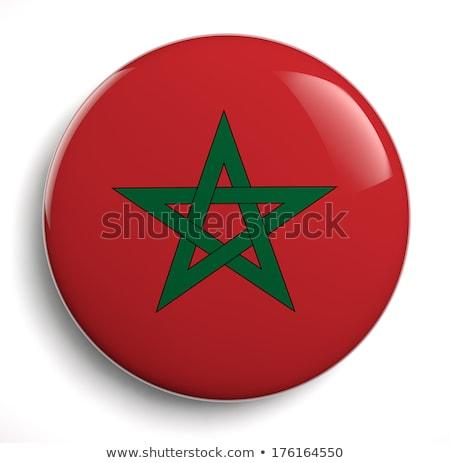 Marrocos bandeira oval botão prata isolado Foto stock © Bigalbaloo