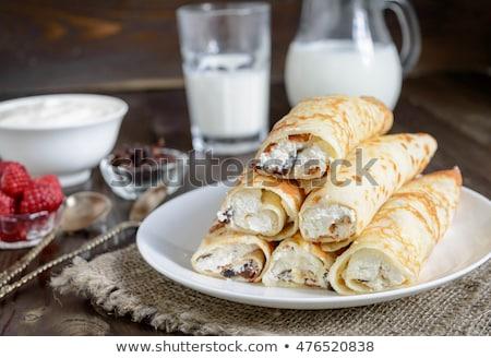 Pancakes with ricotta cream and raspberries Stock photo © Digifoodstock