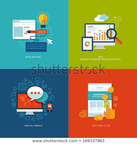 Media Advertising Flat Design Icons Stock photo © Genestro