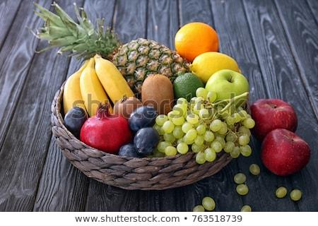 meyve · sepet · Retro · beyaz · kırmızı · kahvaltı - stok fotoğraf © caldix