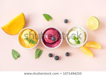 gyümölcs · szörbet · három · rózsaszín · desszert · részlet - stock fotó © Digifoodstock