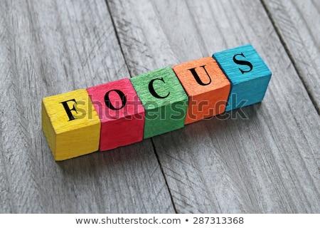 Quebra-cabeça palavra foco peças do puzzle construção brinquedo Foto stock © fuzzbones0