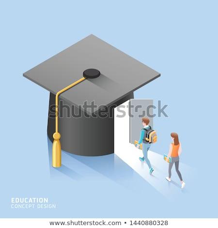 afgestudeerde · hoed · boeken · scroll · zwarte - stockfoto © racoolstudio