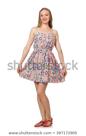 blondie caucasian girl in summer light dress isolated on white stock photo © elnur