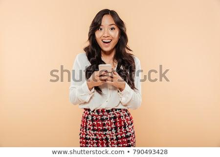 barna · hajú · üzletasszony · sms · üzenet · mobiltelefon · szürke - stock fotó © deandrobot