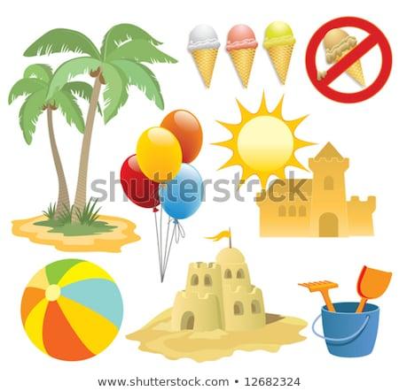 пляж кокосового деревья иллюстрация воды Сток-фото © bluering
