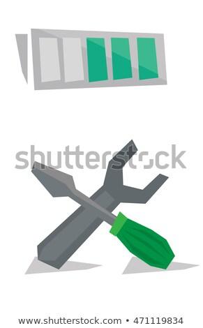 Clé tournevis batterie au-dessus vecteur design Photo stock © RAStudio