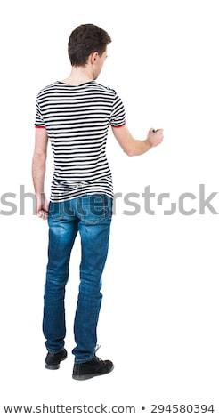 молодым · человеком · полосатый · рубашку · джинсов · белый - Сток-фото © nickp37