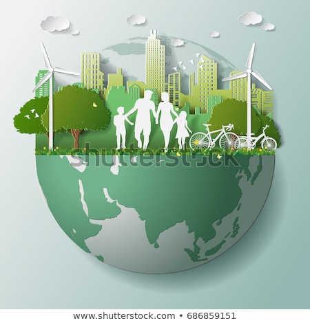 Infographic with people walking on earth Stock photo © bluering