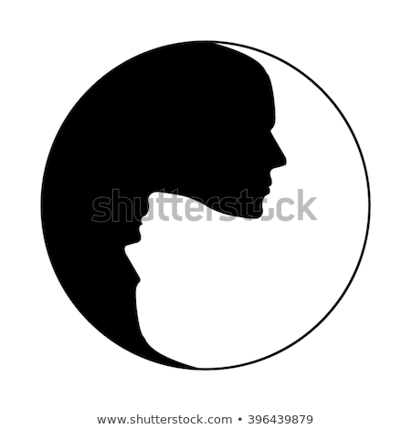 Silhouette of male head with yin yang symbol Stock photo © adrian_n