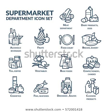 Melk markt afdeling icon glanzend knop Stockfoto © angelp