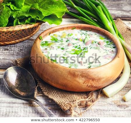 Frio verão sopa legumes iogurte russo Foto stock © Yatsenko