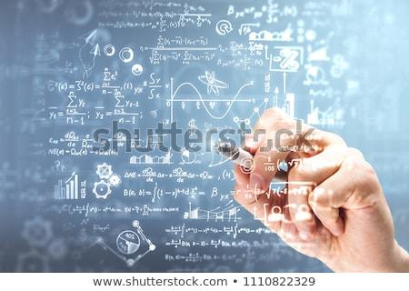 Foto stock: Matemática · gráfico · papel · governante · detalhado