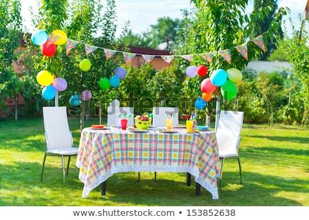 Stockfoto: Erjaardagsfeestje · Tafel · Met · Voedsel