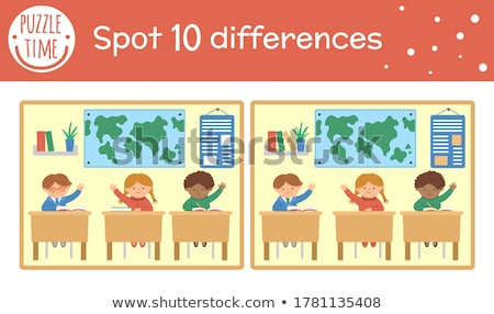 illusztráció · gyerekek · játszanak · osztályterem · gyermek · fiú · fekete - stock fotó © bluering
