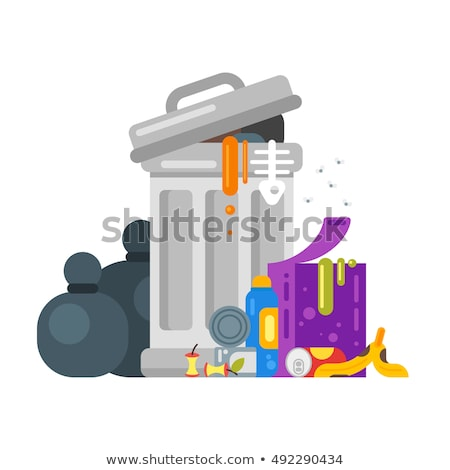 Vector flat style illustration of trash. Spoiled food. Stock photo © curiosity