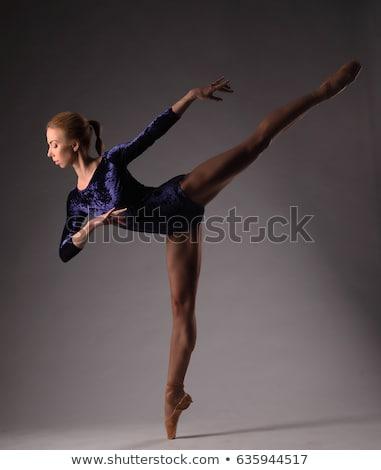 Ballerina fekete pózol lábujjak stúdió szürke Stock fotó © master1305