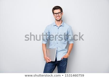 Homem camisas em pé mãos retrato sorridente Foto stock © deandrobot